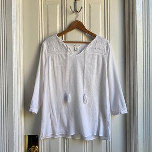 Artisan NY White Tassel 3/4 Sleeve Top